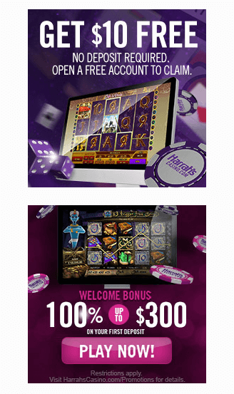 Harrah's Casino Promotion Code NJ Offers - $10 No Deposit and 100% up to $300 - Clicking on this image will take you to Harrah's Casino website and their bonus offer
