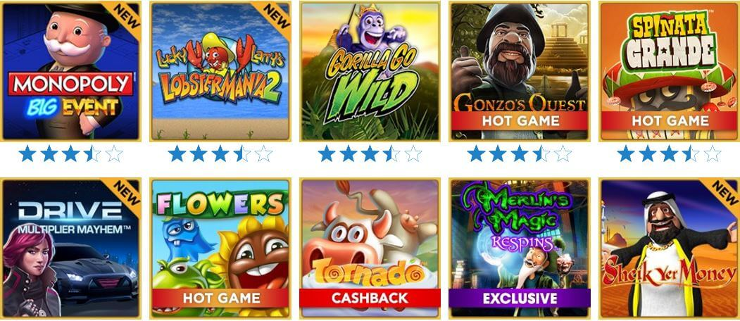 A screenshot of the most popular casino games at Mohegan Sun