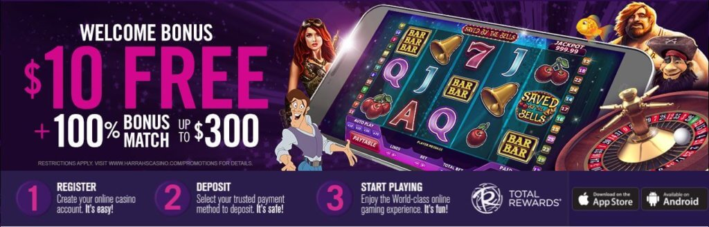 Harrah's Online Casino NJ Bonus - $10 Free + 100% up to $300 - Clicking on this image will take you to Harrah's Casino website and their bonus offer