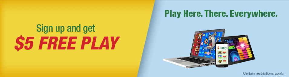iLottery Bonus Code Offer - Sign up and get $5 Free Play - Play Here. There. Everywhere. - Terms and Conditions apply - Clicking on this image will take you to Pennsylvania iLottery website