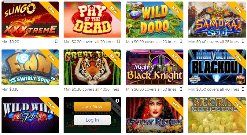 A screenshot of the most popular Casino games at SugarHouse Casino