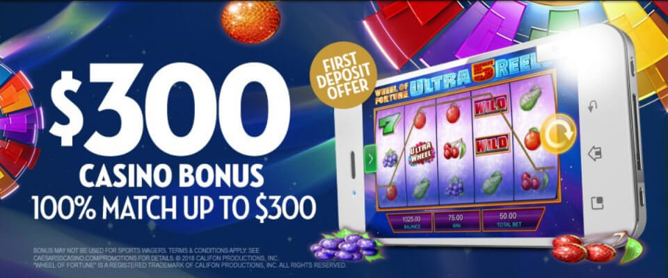 Caesars Casino Bonus Code Offer - $300 Casino bonus - 100% Match up to $300 - Terms and Conditions apply - Clicking on this image will take you to the Caesars Casino website