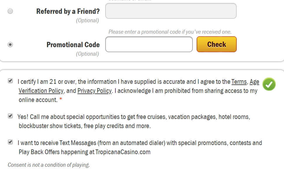 A screenshot of the Tropicana Casino Online Promotional Code Registration fields