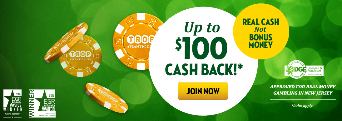 Tropicana Casino Online Promotional Code Bonus: cash back of up to $100 - Clicking on this image will take you to the Tropicana Casino Online website - Terms and conditions apply